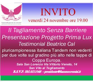Presentazione Progetto Prima Lux – Venerdì 24 Novembre ore 19.00