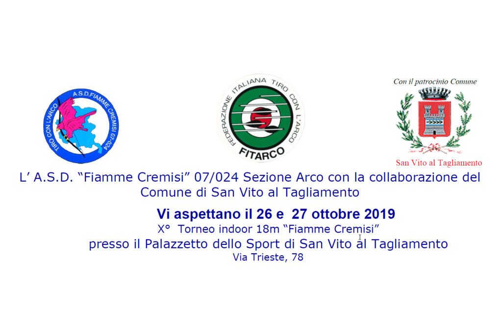 """X° Torneo Indoor 18m """"Fiamme Cremisi"""" il 26 e 27 Ottobre 2019"""